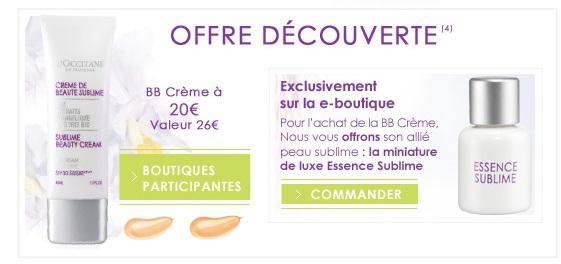 Bon plan L'Occitane pour la BB-crème / crème de beauté sublime