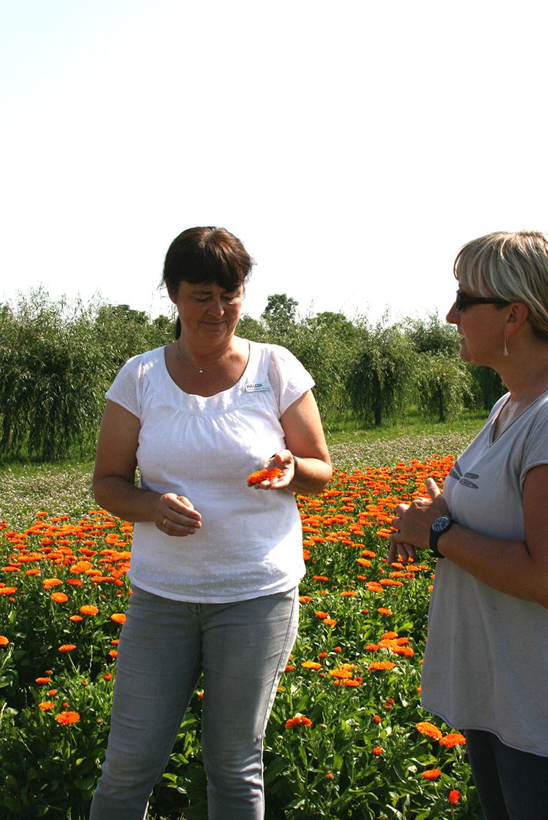 Andrea (à gauche) de chez Weleda et Elisabeth (à droite) notre interprète