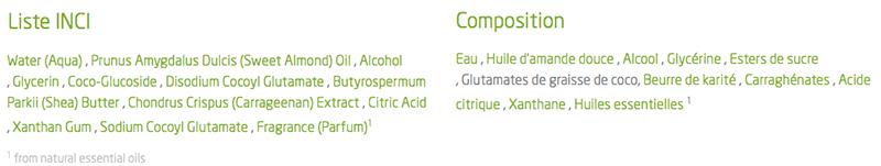 composition crème de douche amande weleda