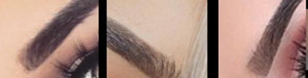 trois morceaux de sourcils piqués sur Instagram qui montrent l'uniformisation du sourcils à base carrée