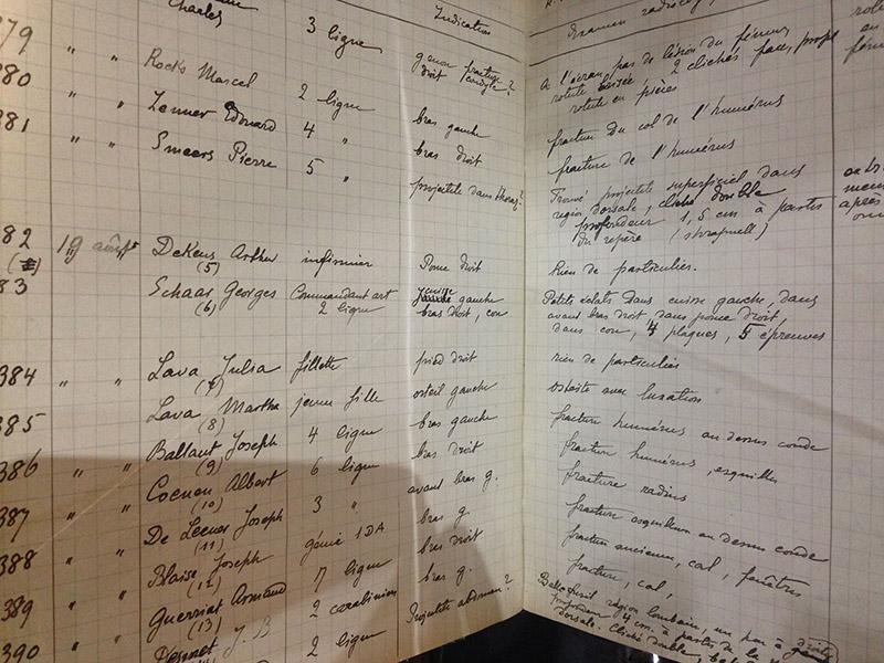 Pendant la Première Guerre Mondiale, grâce à ses découvertes sur la radio-activité, Marie Curie permet aux soldats d'avoir accès pour la première fois aux radiographies ! Elle a consigné dans ce carnet toutes ses observations !