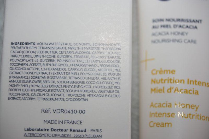 composition de la crème