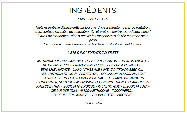 composition serum occitane immortelle reset reset nuit huile-en-serum
