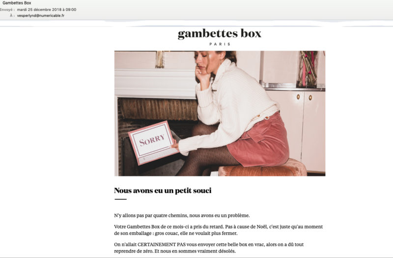 mail de retard Gambettes Box