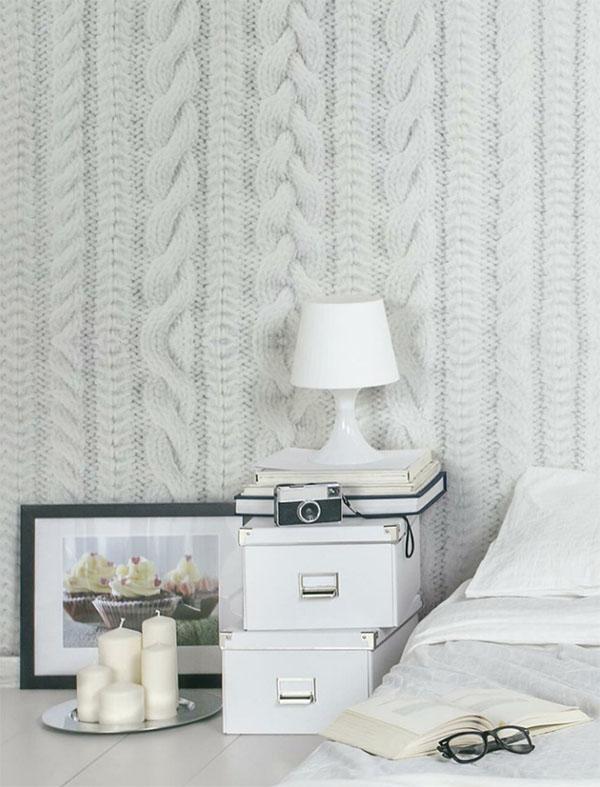 papier peint maille laine chambre balnche